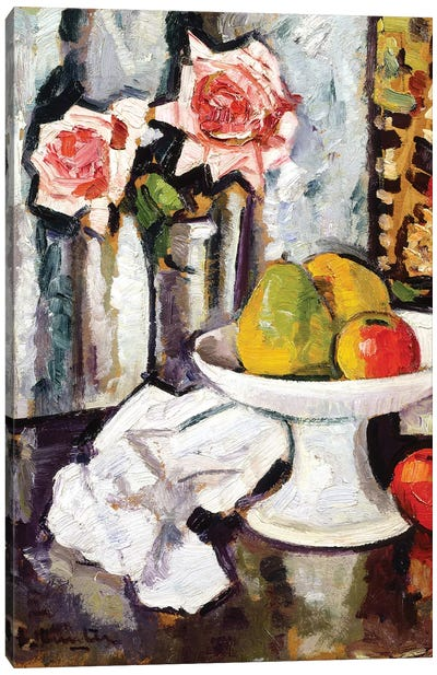 Still life with bowl of fruit and a vase of pink roses  Canvas Art Print