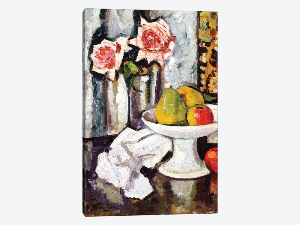 Still life with bowl of fruit and a vase of pink roses  by George Leslie Hunter 1-piece Canvas Artwork