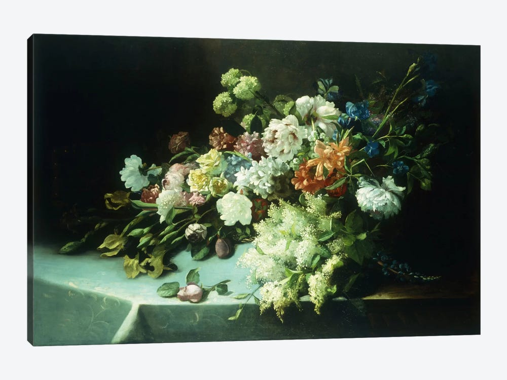 Floral still life, 1884  by Frans Mortelmans 1-piece Canvas Wall Art