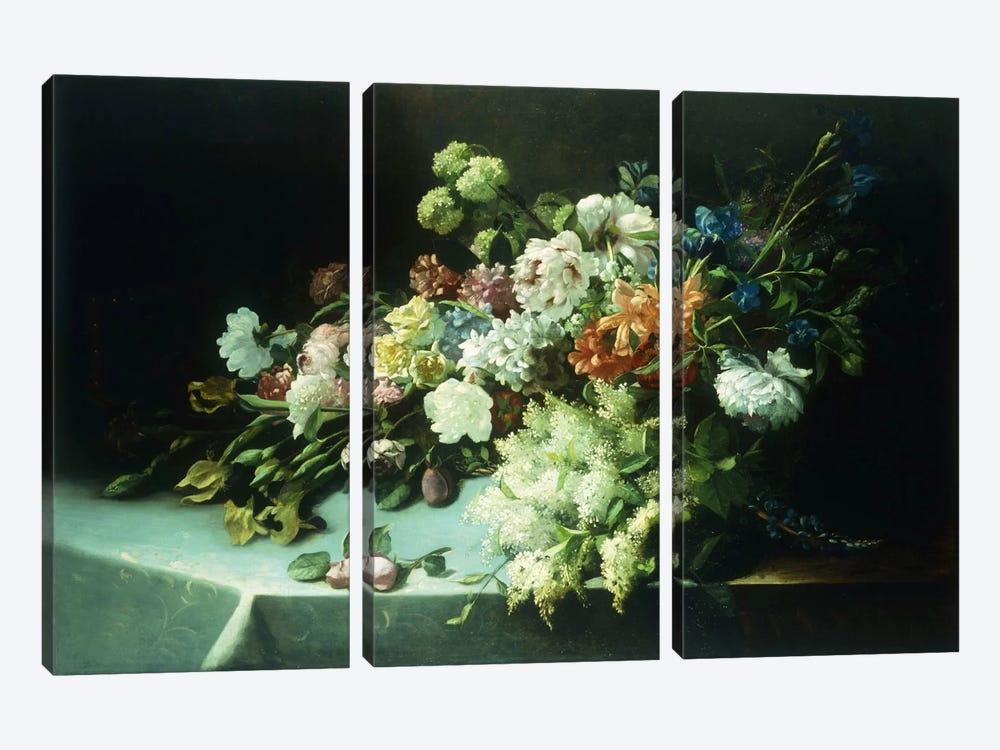 Floral still life, 1884  by Frans Mortelmans 3-piece Canvas Art