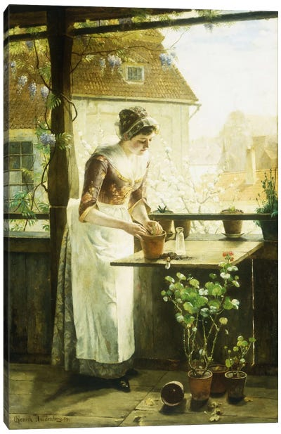 Woman Potting Flowers, 1890  Canvas Art Print