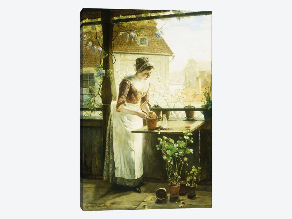 Woman Potting Flowers, 1890  by C. Hendrick Nordenberg 1-piece Art Print