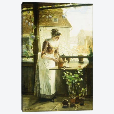 Woman Potting Flowers, 1890  Canvas Print #BMN5664} by C. Hendrick Nordenberg Canvas Wall Art