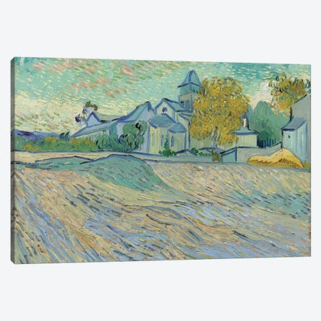 Vue de L'Asile et de la Chapelle de Saint-Remy, 1889  Canvas Print #BMN5670} by Vincent van Gogh Canvas Artwork