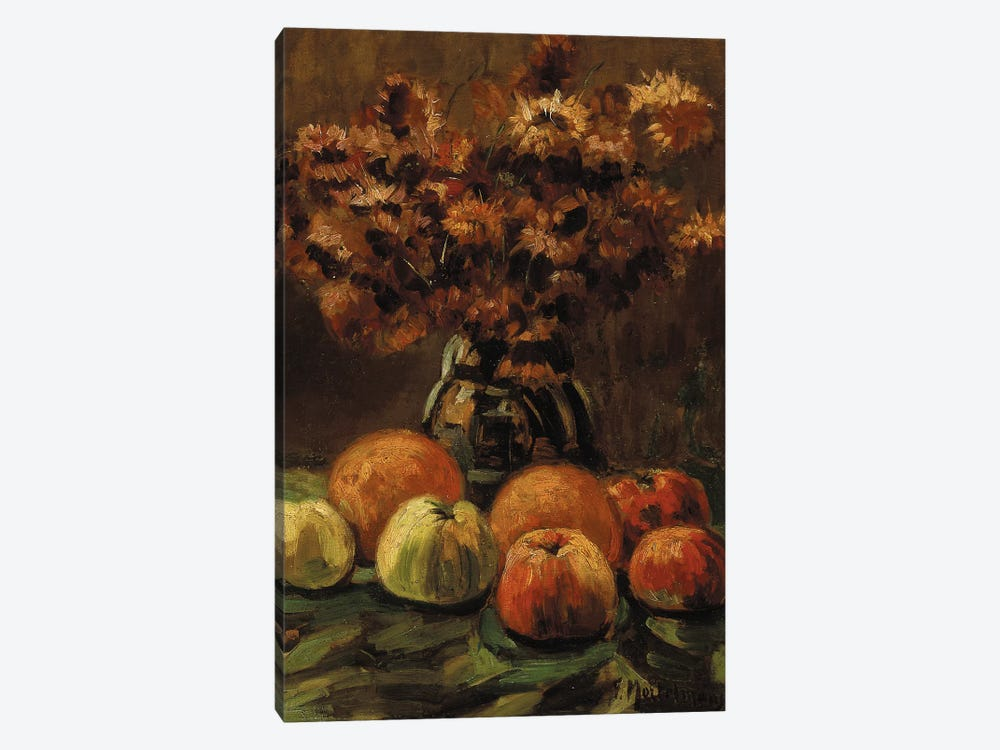 Apples, oranges and a vase of flowers on a table by Frans Mortelmans 1-piece Art Print
