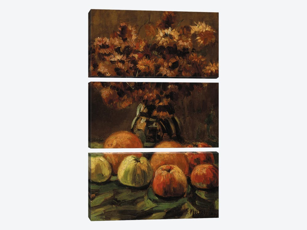 Apples, oranges and a vase of flowers on a table by Frans Mortelmans 3-piece Art Print