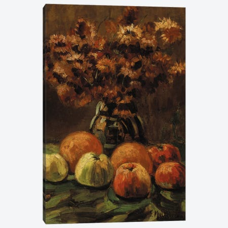 Apples, oranges and a vase of flowers on a table  Canvas Print #BMN5671} by Frans Mortelmans Canvas Wall Art