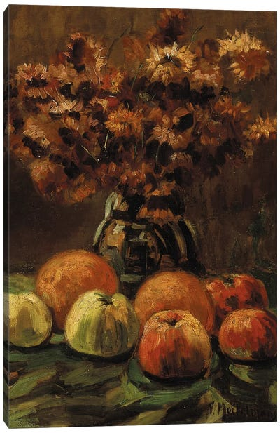 Apples, oranges and a vase of flowers on a table  Canvas Art Print