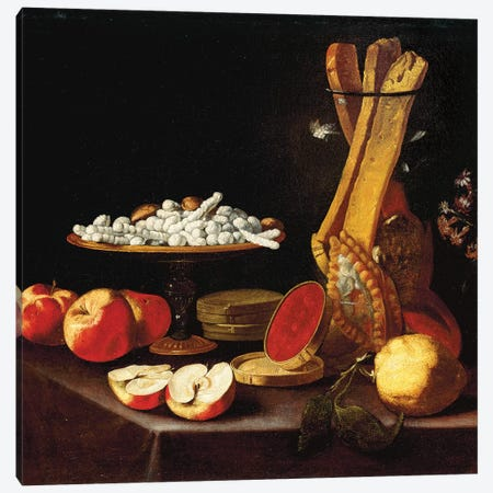 Sweets on a tazza, narcissi in a glass vase, breadsticks in a jar, and apples, jelly and a lemon on a draped table  Canvas Print #BMN5672} by Paolo Antonio Barbieri Canvas Art