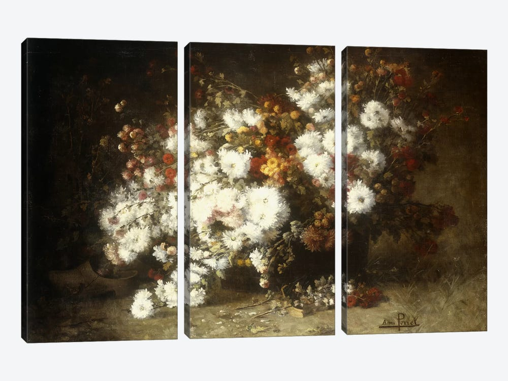 Still life of flowers by Aime Perret 3-piece Canvas Print