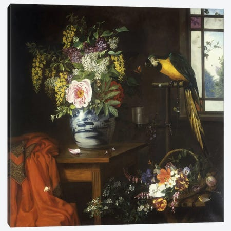 Still life with a vase of flowers, 1874  Canvas Print #BMN5676} by Olaf August Hermansen Art Print