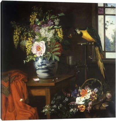 Still life with a vase of flowers, 1874  Canvas Art Print