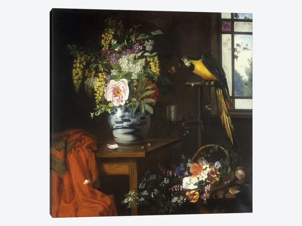Still life with a vase of flowers, 1874  by Olaf August Hermansen 1-piece Canvas Wall Art
