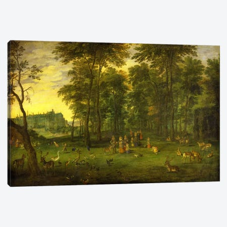 Archduke Albrecht VII of Austria and Archduchess Isabella Clara Eugenia walking in the park of the royal castle in Brussels, 1621  Canvas Print #BMN5680} by Jan Brueghel the Younger Canvas Print