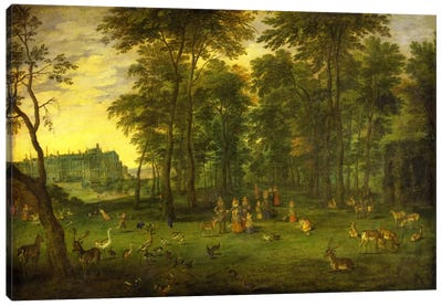 Archduke Albrecht VII of Austria and Archduchess Isabella Clara Eugenia walking in the park of the royal castle in Brussels, 1621  Canvas Print #BMN5680