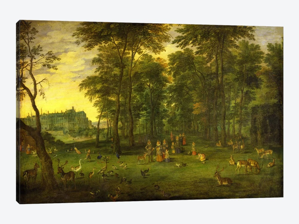 Archduke Albrecht VII of Austria and Archduchess Isabella Clara Eugenia walking in the park of the royal castle in Brussels, 162 by Jan Brueghel the Younger 1-piece Canvas Art Print