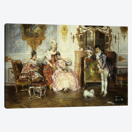 The Interrupted Proposal, 1889  Canvas Print #BMN5681} by Leopold Schmutzler Canvas Print