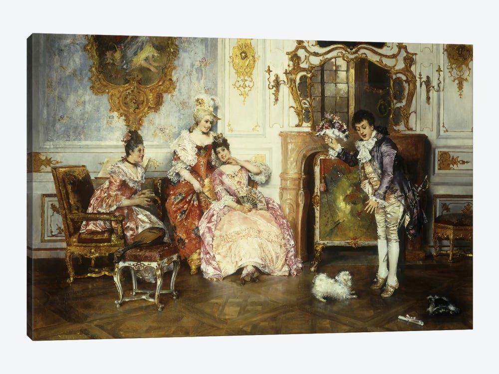 The Interrupted Proposal, 1889  by Leopold Schmutzler 1-piece Canvas Wall Art