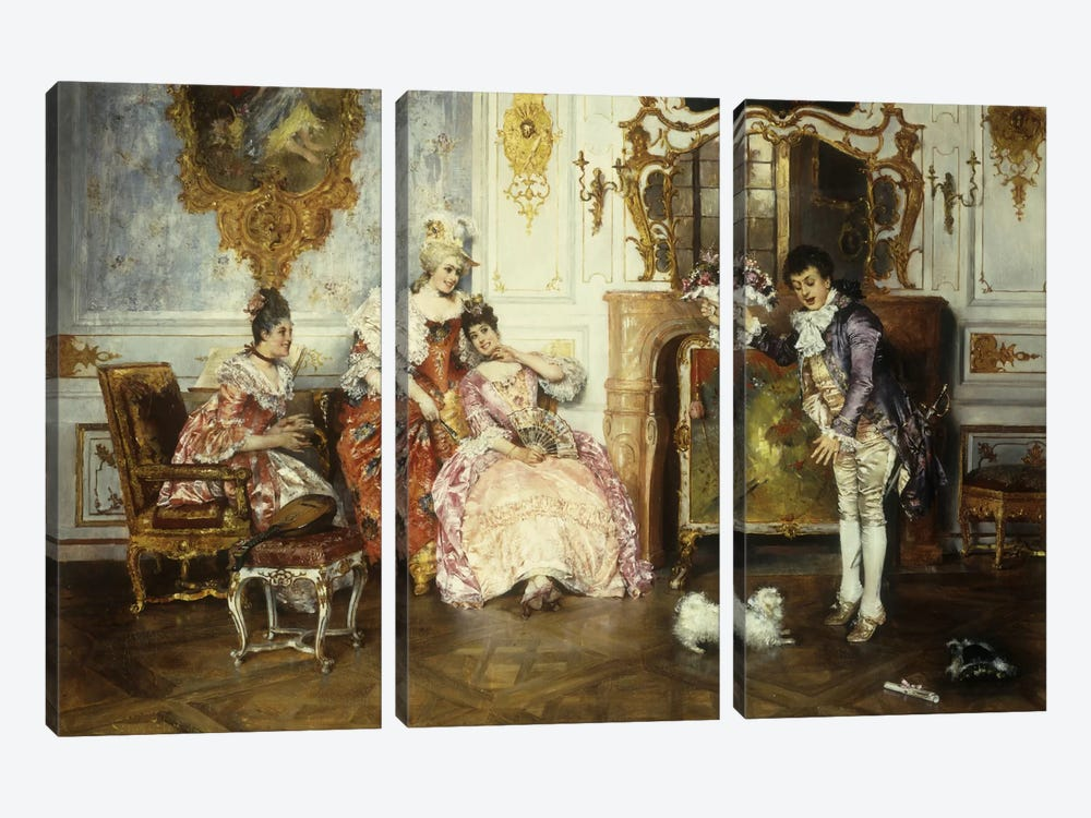 The Interrupted Proposal, 1889  by Leopold Schmutzler 3-piece Canvas Art