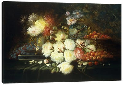 Still life with roses, chrysanthemums, grapes and strawberries  Canvas Art Print