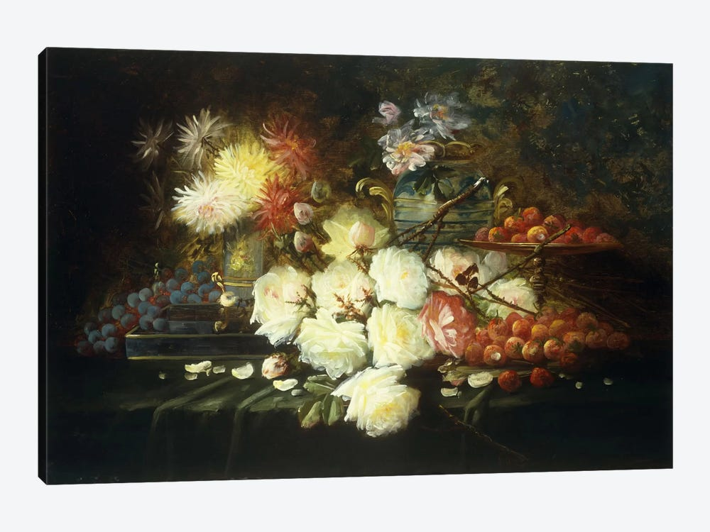 Still life with roses, chrysanthemums, grapes and strawberries by Modeste Carlier 1-piece Canvas Print