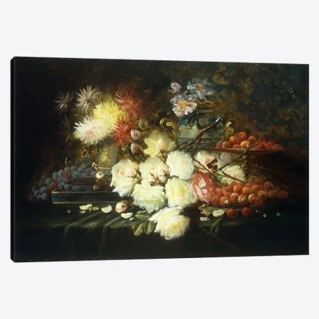 Still life with roses, chrysanthemums, grapes and strawberries  Canvas Print #BMN5684} by Modeste Carlier Canvas Art