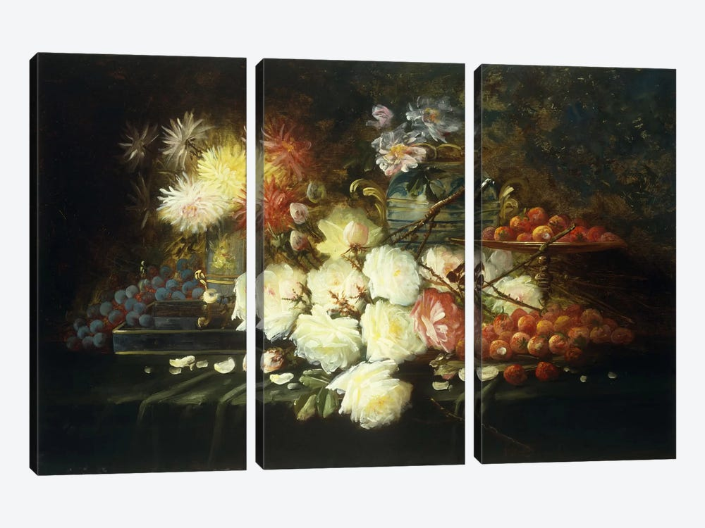 Still life with roses, chrysanthemums, grapes and strawberries  by Modeste Carlier 3-piece Canvas Art Print