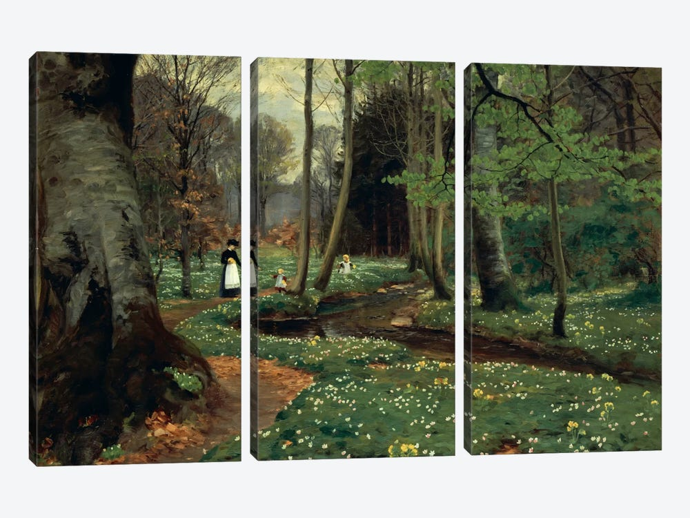 The Woodland Path  by Hans Andersen Brendekilde 3-piece Canvas Artwork