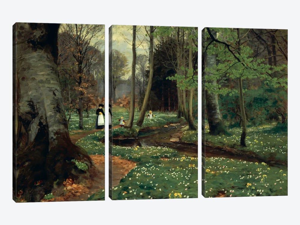 The Woodland Path  by Hans Andersen Brendekilde 3-piece Canvas Artwork