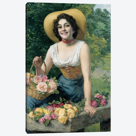 A beauty holding a basket of roses  Canvas Print #BMN5689} by Gaetano Bellei Canvas Print
