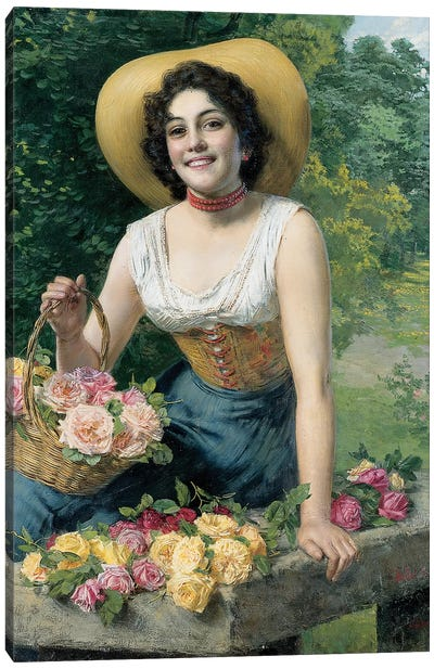 A beauty holding a basket of roses  Canvas Art Print