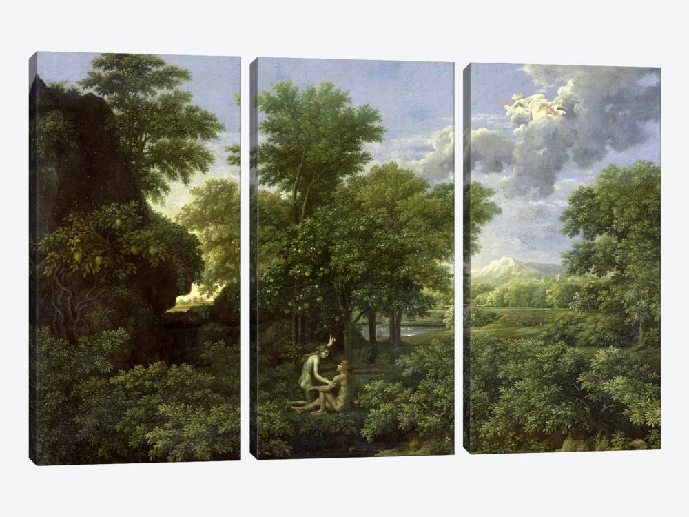 Spring, or The Garden of Eden  by Nicolas Poussin 3-piece Canvas Print