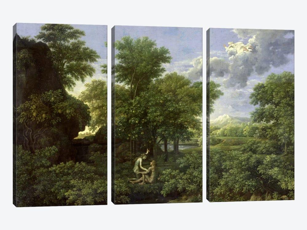 Spring, or The Garden of Eden  by Nicolas Poussin 3-piece Canvas Print