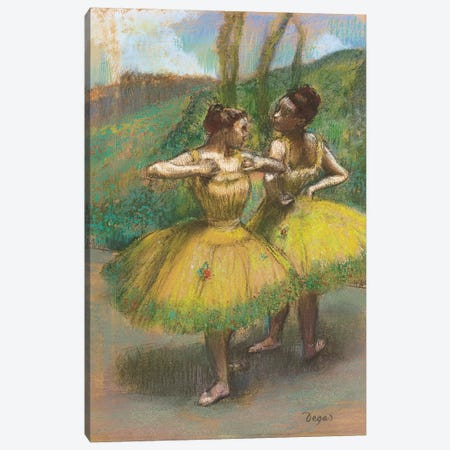 Dancers with yellow skirts  Canvas Print #BMN5691} by Edgar Degas Canvas Art