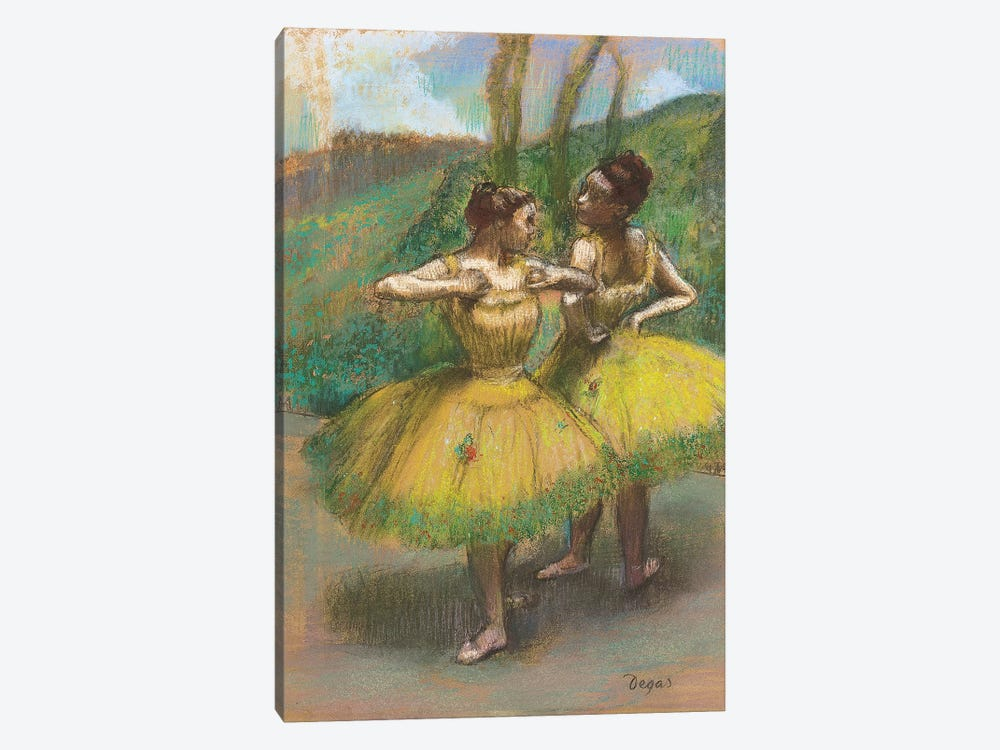 Dancers with yellow skirts  by Edgar Degas 1-piece Art Print