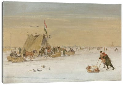 A winter landscape with figures on the ice by a koek-en-zopie tent  Canvas Art Print