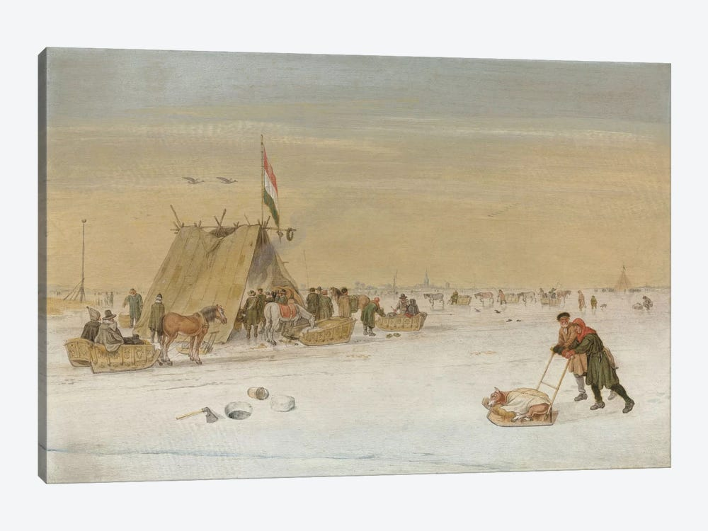 A winter landscape with figures on the ice by a koek-en-zopie tent by Hendrik Avercamp 1-piece Canvas Art