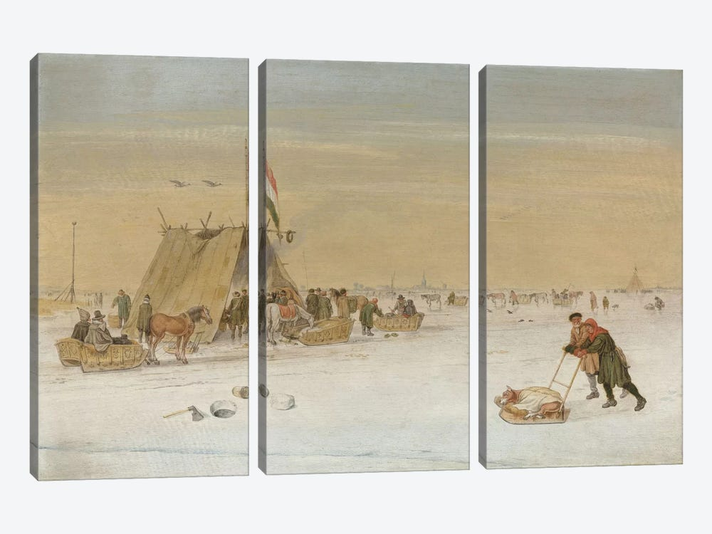 A winter landscape with figures on the ice by a koek-en-zopie tent by Hendrik Avercamp 3-piece Canvas Wall Art