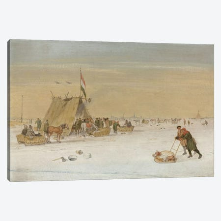 A winter landscape with figures on the ice by a koek-en-zopie tent  Canvas Print #BMN5692} by Hendrik Avercamp Canvas Art