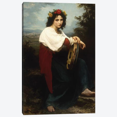 Italian woman with a tambourine, 1872  Canvas Print #BMN5696} by William-Adolphe Bouguereau Art Print