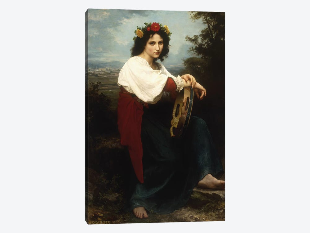 Italian woman with a tambourine, 1872  by William-Adolphe Bouguereau 1-piece Canvas Wall Art