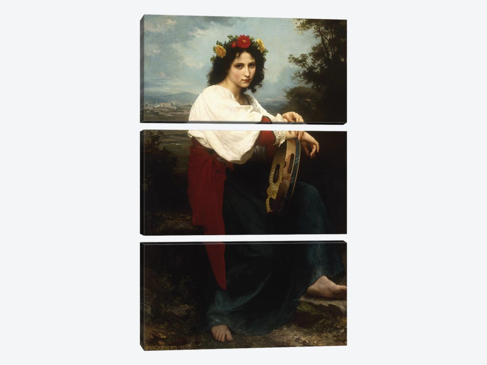 Italian woman with a tambourine, 1872  by William-Adolphe Bouguereau 3-piece Canvas Artwork