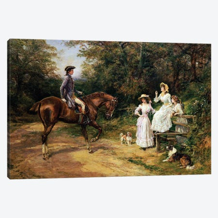 A Meeting By A Stile  Canvas Print #BMN5699} by Heywood Hardy Canvas Art