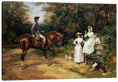 A Meeting By A Stile  Canvas Art Print