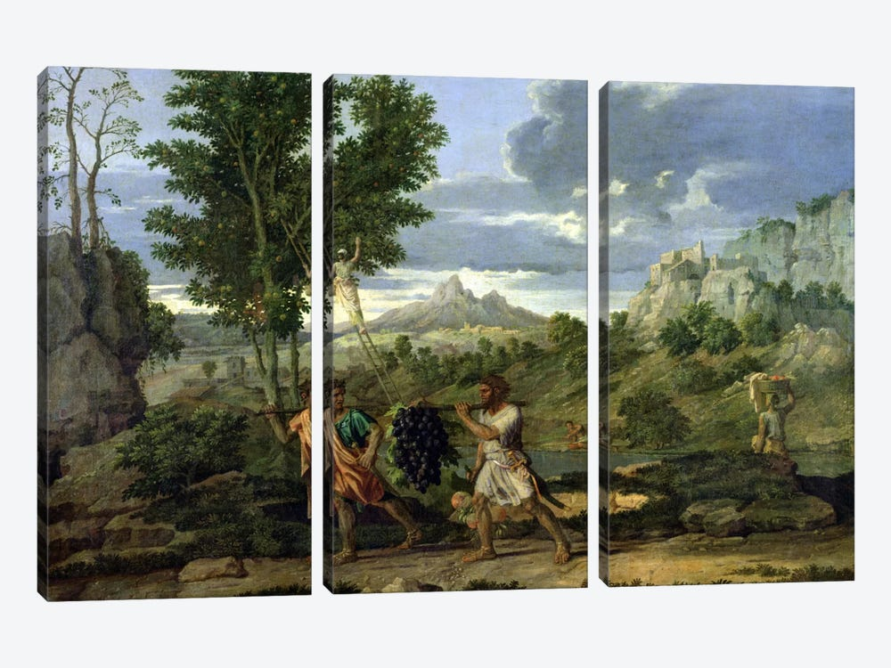Autumn, or the Bunch of Grapes Taken from the Promised Land, 1660-64  by Nicolas Poussin 3-piece Canvas Art