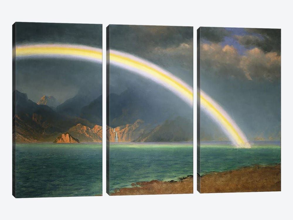 Rainbow Over Jenny Lake, Wyoming by Albert Bierstadt 3-piece Canvas Art