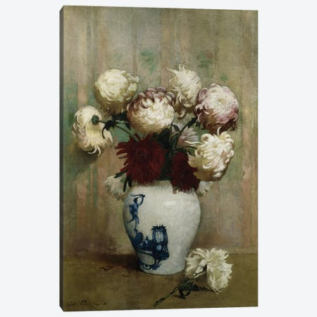Mums in an Oriental Vase,  Canvas Print #BMN5712} by Emil Carlsen Canvas Art Print