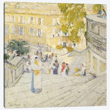 The Spanish Steps of Rome, 1897  Canvas Print #BMN5713} by Childe Hassam Art Print