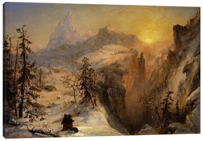 Winter in Switzerland, 1860  Canvas Art Print