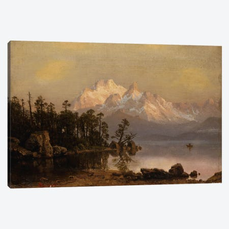 Mountain Canoeing Canvas Print #BMN5722} by Albert Bierstadt Canvas Art